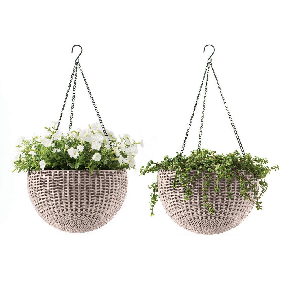 13.8 in. Dia Beige Resin Hanging Rattan Planter (2-Pack)