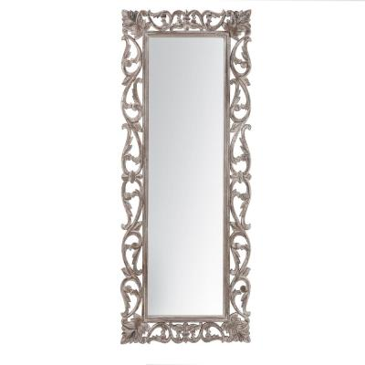 """Como Grey Traditional Hand Carved Wall Mirror - Rectangle (36"""" x 18"""")"""