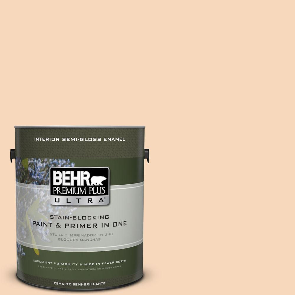 BEHR Premium Plus Ultra 1-gal. #PPU4-11 Porcelain Peach Semi-Gloss Enamel Interior Paint