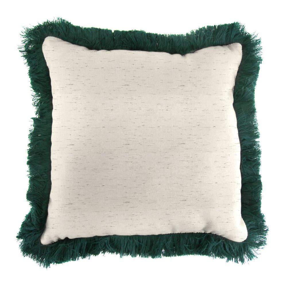 Sunbrella Frequency Parchment Square Outdoor Throw Pillow with Forest Green