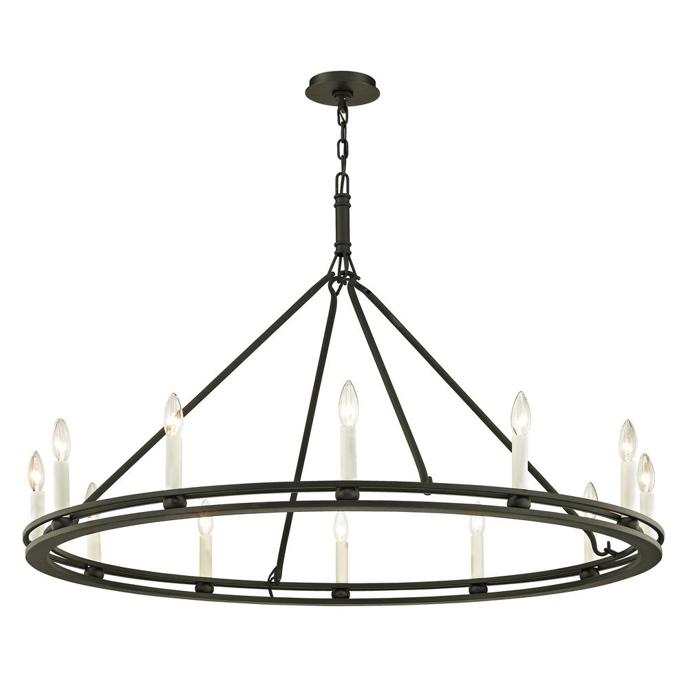troy lighting sutton 12 light textured black 44 in d chandelier