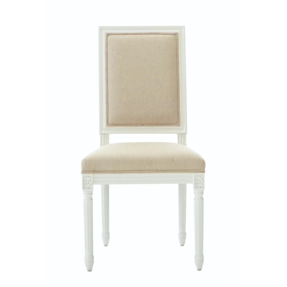 Jacques Antique Ivory Natural Linen Dining Chair (Set Of 2)