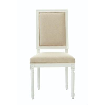 Jacques Antique Ivory Natural Linen Square Back Dining Chair (Set of 2)
