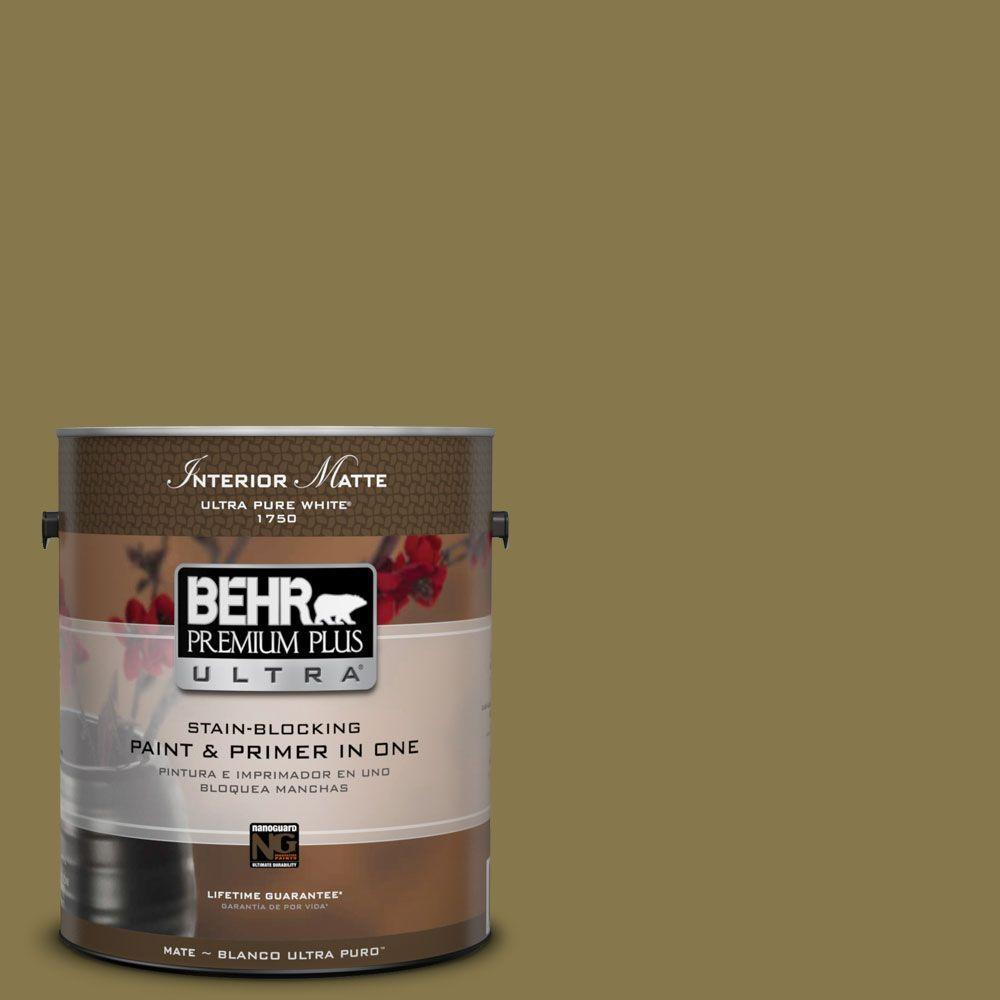 BEHR Premium Plus Ultra 1 gal. #M330-7 Green Tea Leaf Matte Interior Paint
