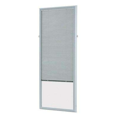 White Cordless Add On Enclosed Aluminum Blinds with 1/2 in. Slats, for 25 in. Wide x 66 in. Length Door Windows