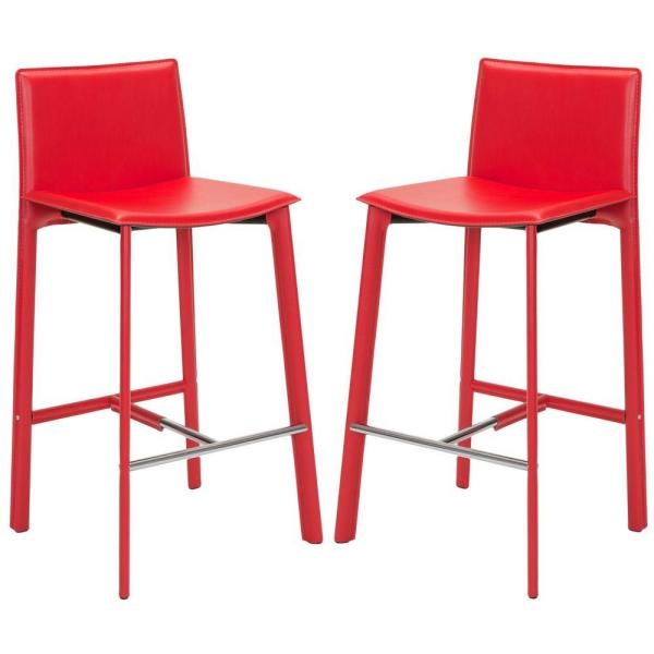 Janet 30 in. Red Cushioned Bar Stool (Set of 2)