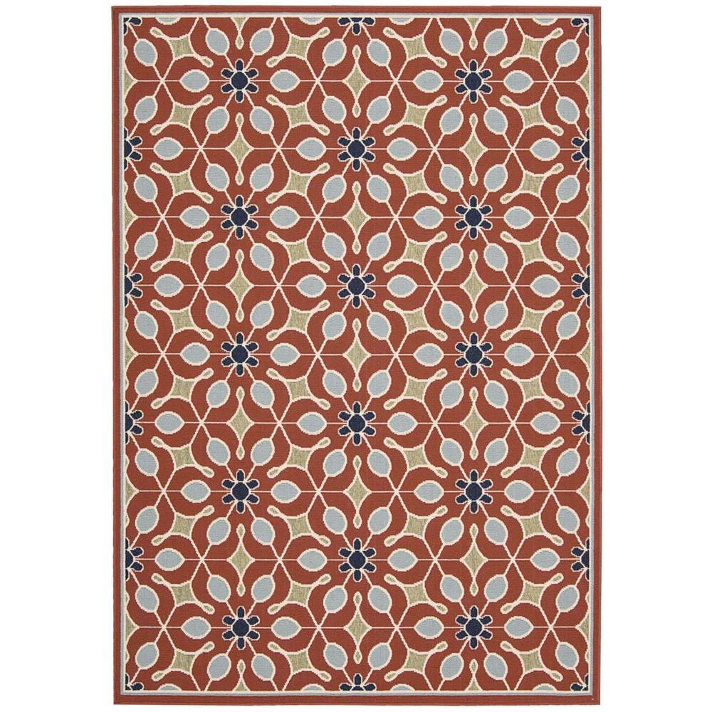 Nourison Caribbean Rust 3 ft. 11 in. x 5 ft. 11 in. Indoor/Outdoor Area Rug