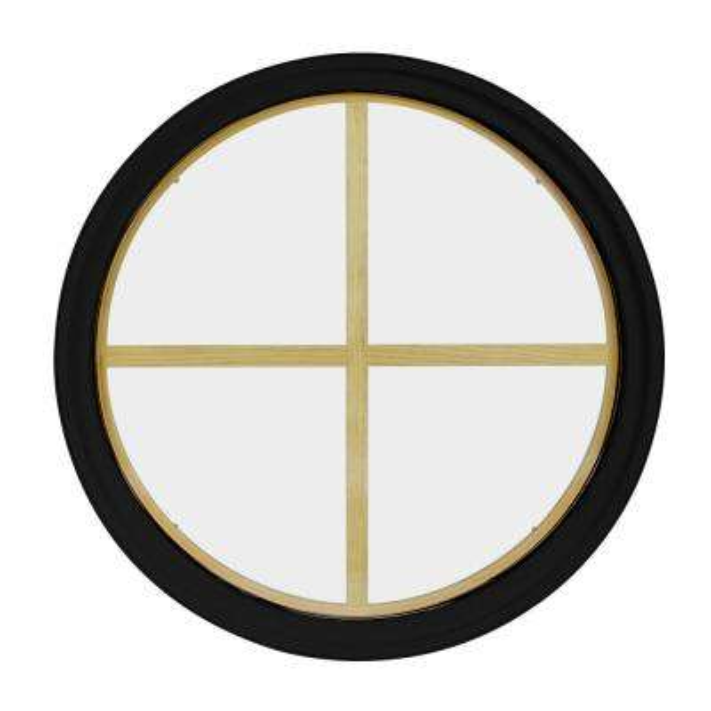 18 in. x 18 in. Round Black 6-9/16 in. Jamb 2-1/4 in. Interior Trim 4-Lite Grille Geometric Aluminum Clad Wood Window