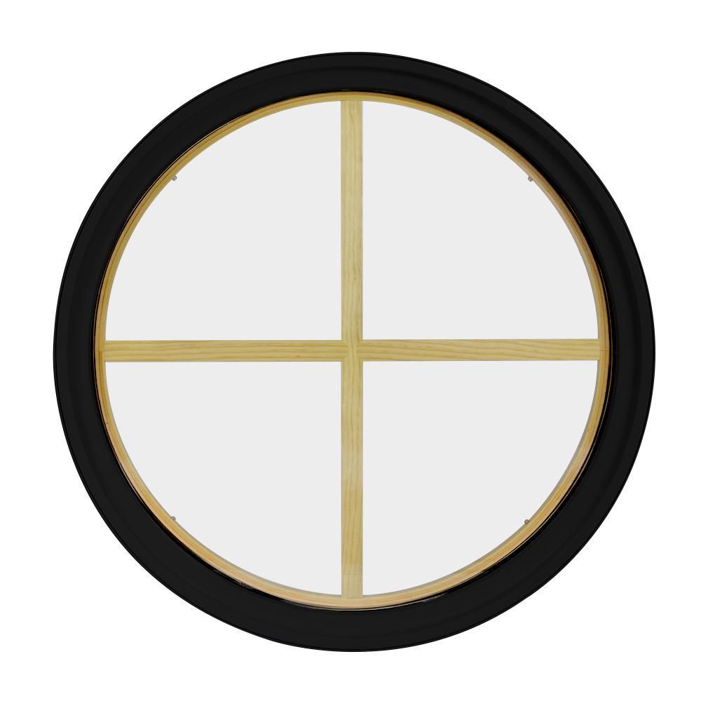 36 in. x 36 in. Round Black 6-9/16 in. Jamb 2-1/4 in. Interior Trim 4-Lite Grille Geometric Aluminum Clad Wood Window
