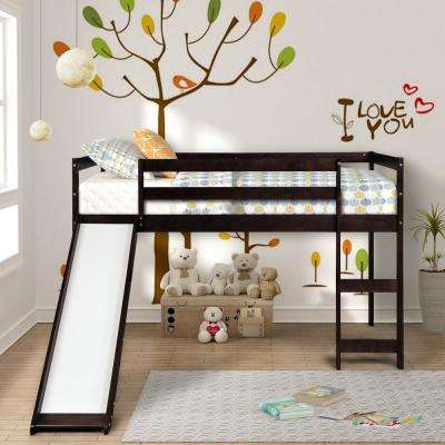 Espresso Wood Twin Loft Bed with a Slide