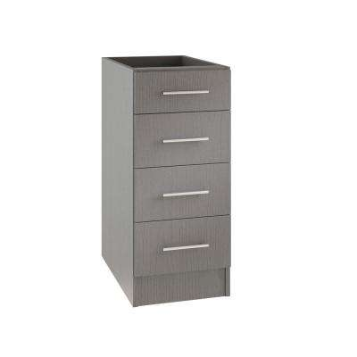 Assembled 15x34.5x24 in. Palm Beach Island Outdoor Kitchen Base Cabinet with 4 Drawers in Rustic Gray