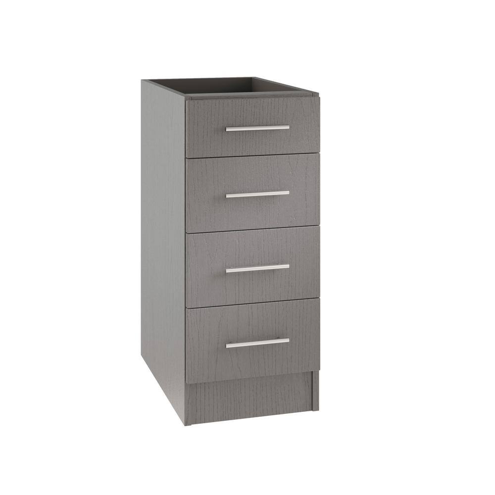 WeatherStrong Assembled 15x34.5x24 in. Key West Open Back Outdoor Kitchen Base Drawer Cabinet with 4 Drawers in Rustic Gray