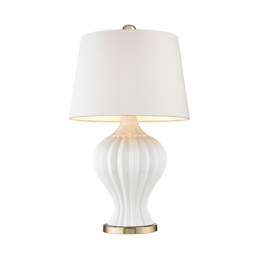 Captivating White And Gold Table Lamp