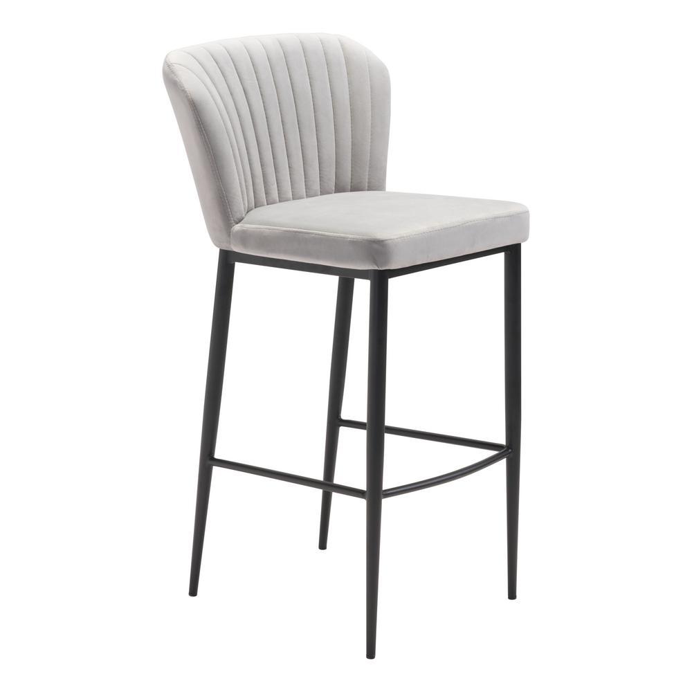 Tolivere 41.3 in. Gray Velvet Bar Chair (Set of 2)