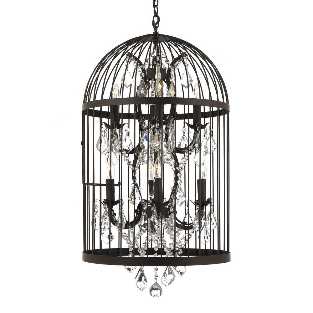 8-Light Rustic Castile Birdcage Chandelier Lighting