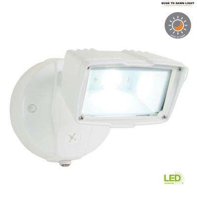 White Outdoor Integrated LED Small Single-Head Security Flood Light with 1400 Lumens and 5000K Daylight