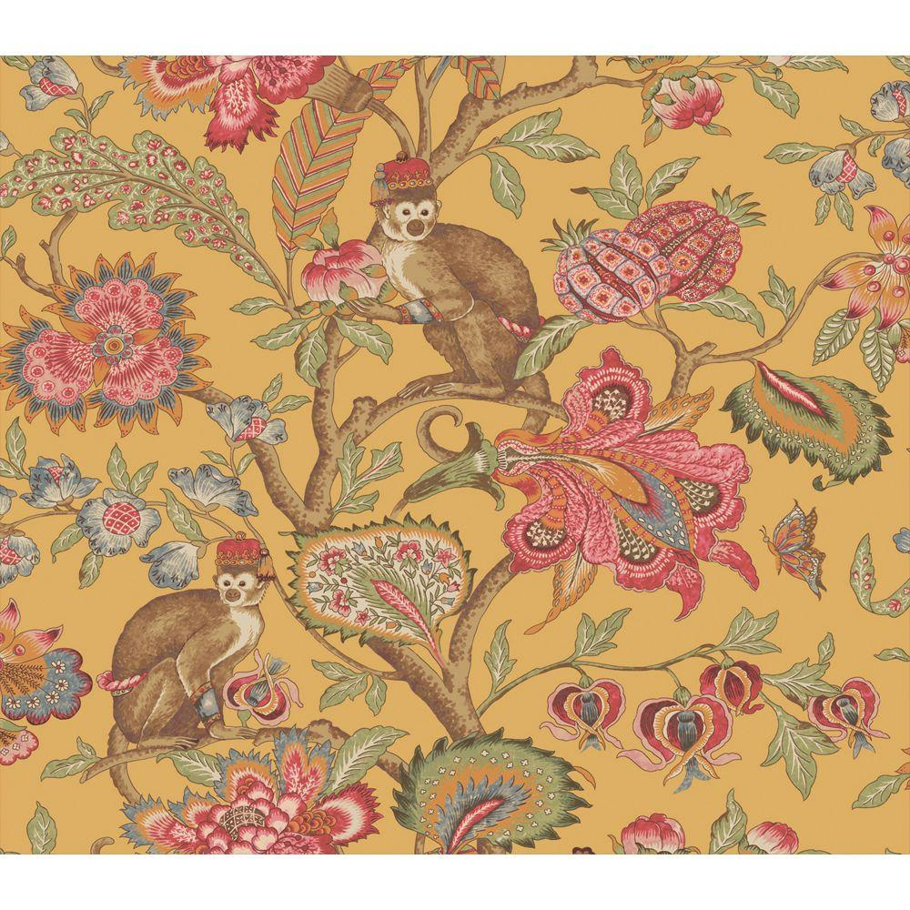 The Wallpaper Company 56 sq. ft. Yellow Earth Tone Eastern Plants and Monkeys Wallpaper