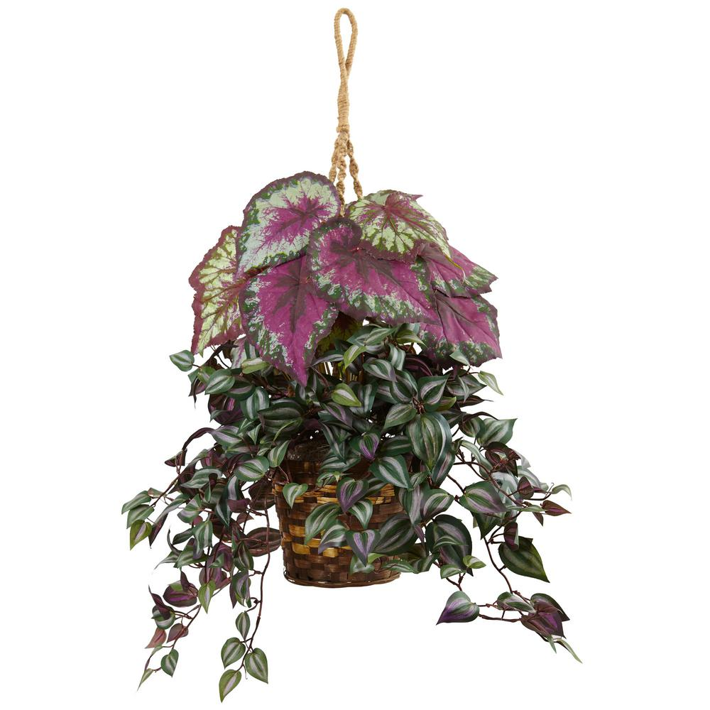 nearly natural indoor wandering jew and begonia silk hanging basket6995 the home depot
