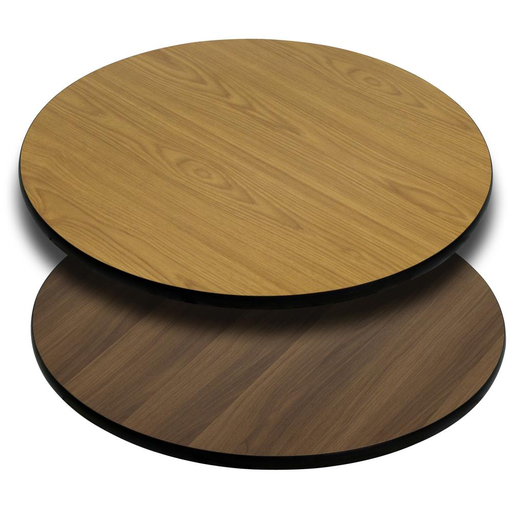Round Table Top With Natural Or Walnut Reversible Laminate Top