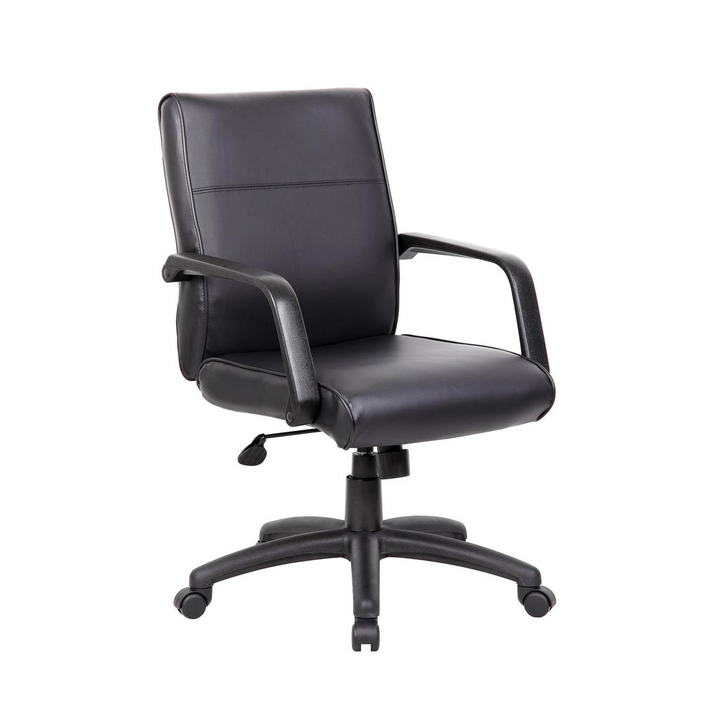 Black Mid Back Executive Chair In LeatherPlus