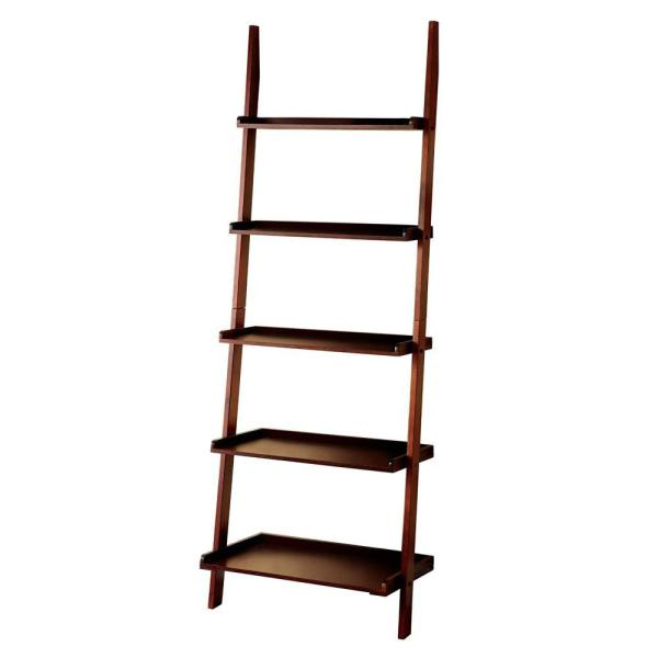 72 in. H Brown Wooden 5-shelf Ladder Bookcase with Open Back