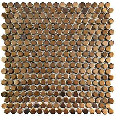 Comet Penny Round Gold 11-1/4 in. x 11-3/4 in. x 9 mm Porcelain Mosaic Tile