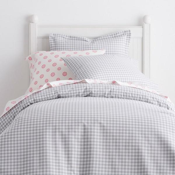 Company Kids by The Company Store Gingham Cotton Percale Gray Twin Duvet Cover