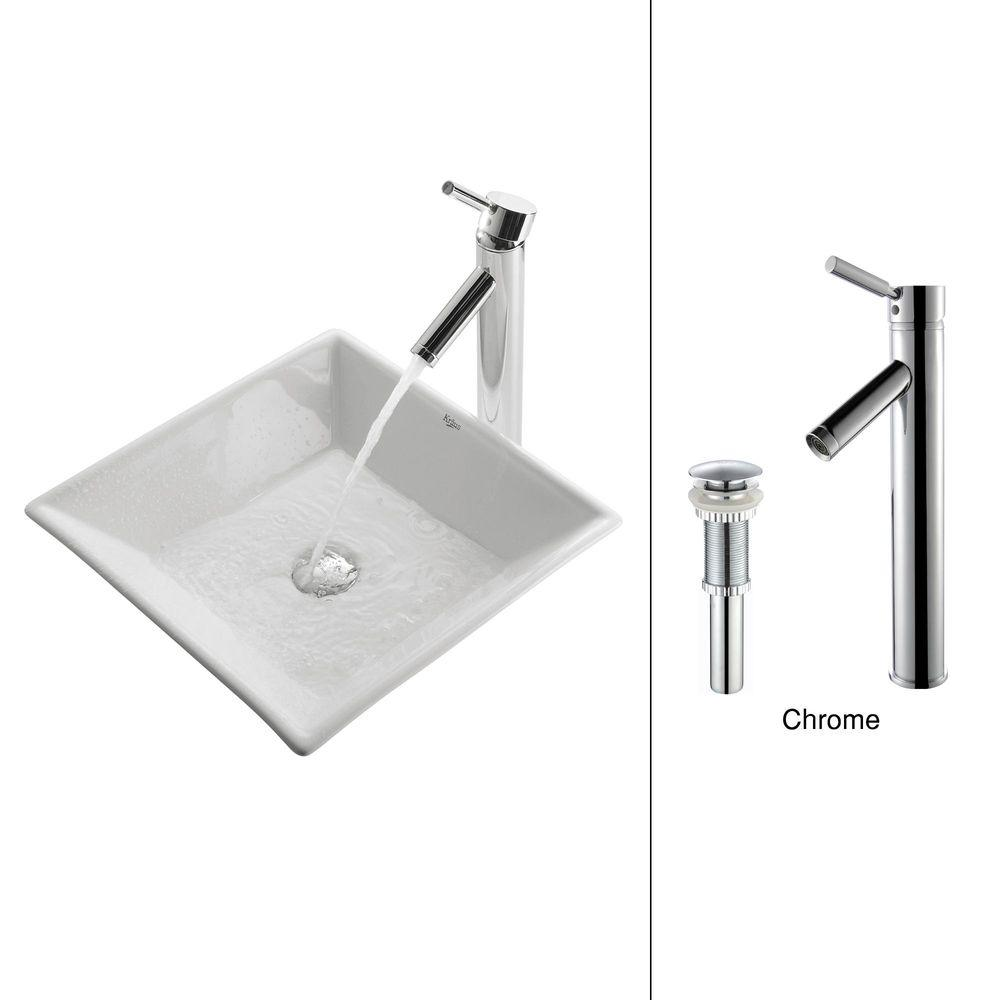 KRAUS Flat Square Ceramic Vessel Sink In White With Sheven Faucet In Chrome