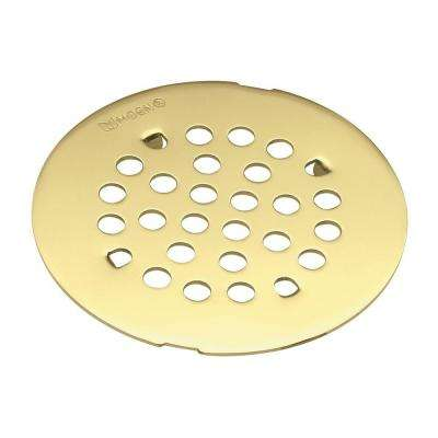 4-1/4 in. Tub and Shower Drain Cover for 3 in. Opening in Polished Brass