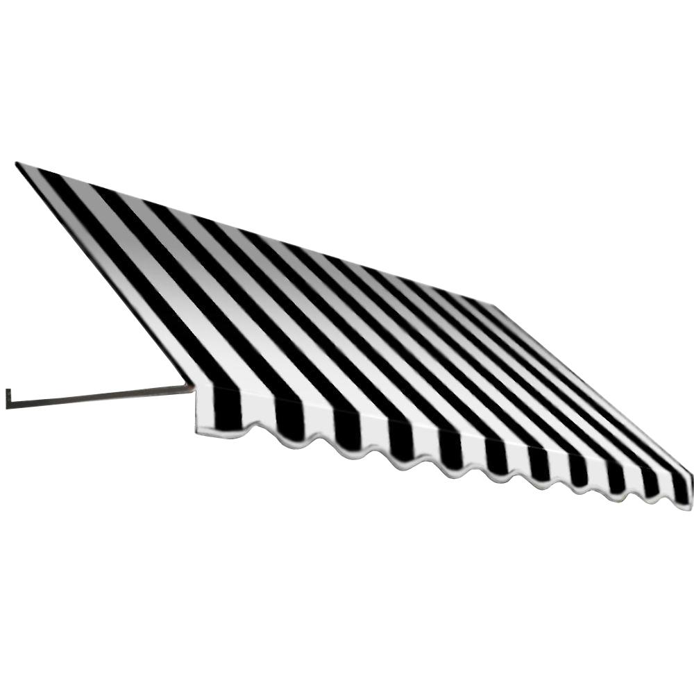 AWNTECH 4 ft. Dallas Retro Window/Entry Awning (44 in. H x 24 in. D) in Black / White Stripe