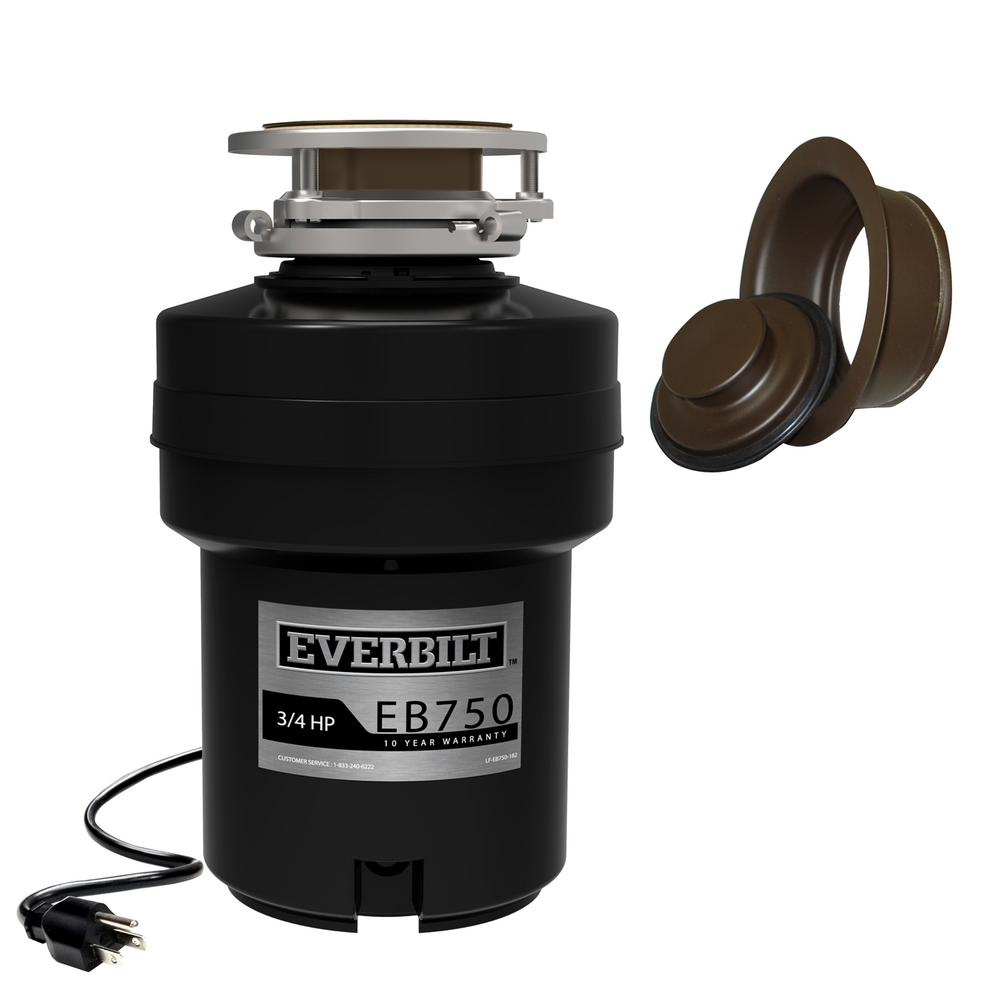 Everbilt Designer Series 3/4 HP Continuous Feed Garbage Disposal with Oil  Rubbed Bronze Sink Flange and Attached Power Cord