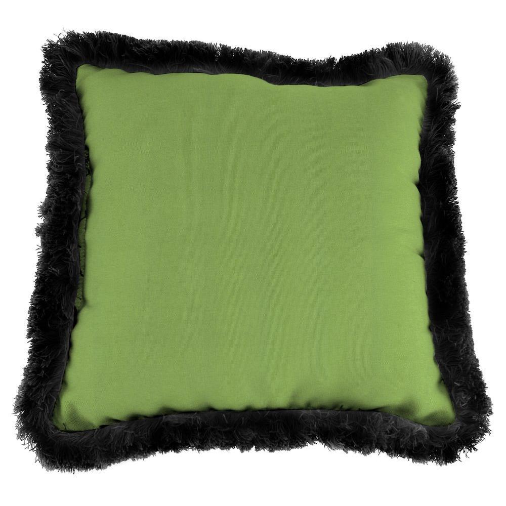Jordan Manufacturing Sunbrella Canvas Gingko Square Outdoor Throw Pillow with Black Fringe