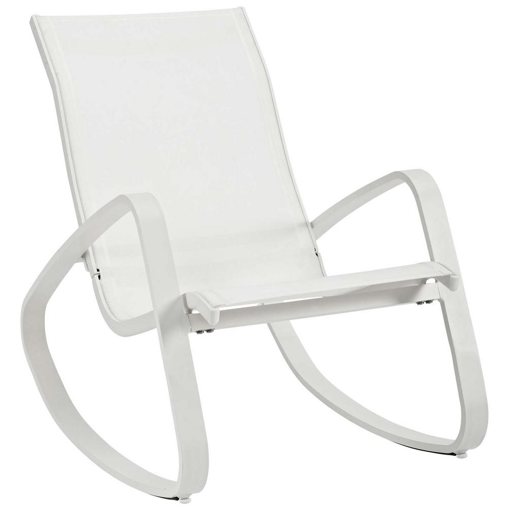 Swell Modway Traveler White Rocking Sling Outdoor Lounge Chair Dailytribune Chair Design For Home Dailytribuneorg
