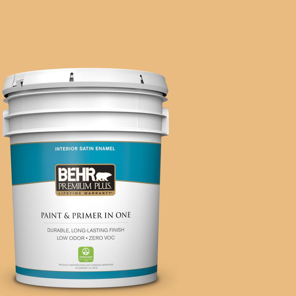 BEHR Premium Plus 5-gal. #310D-4 Gold Buff Zero VOC Satin Enamel Interior Paint