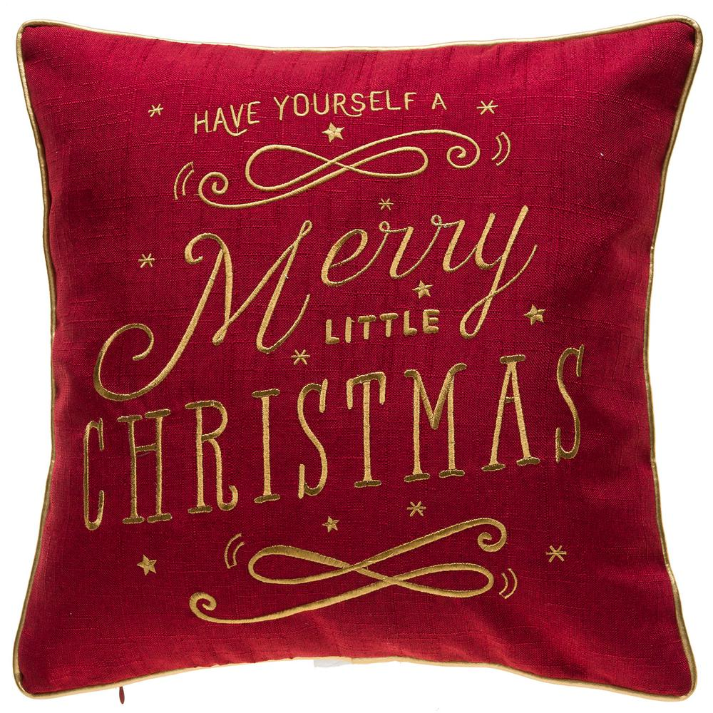 home accents holiday christmas text red decorative pillow