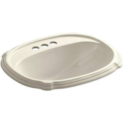 Portrait Drop-In Vitreous China Bathroom Sink in Almond with Overflow Drain