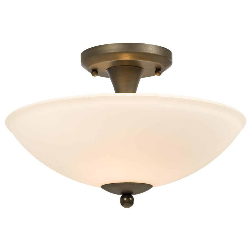 Filament Design Negron 2-Light Oil-Rubbed Bronze Incandescent Semi-Flush Mount Light