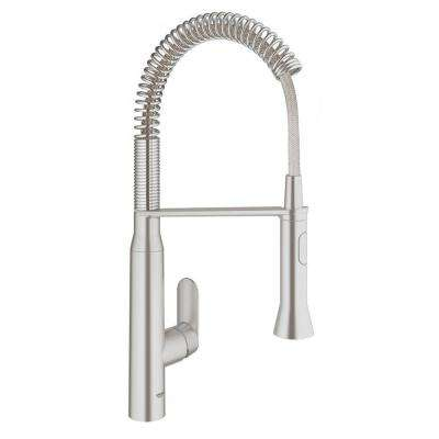 K7 Medium Semi-Pro Single-Handle Pull-Down Sprayer Standard Kitchen Faucet in SuperSteel Infinity