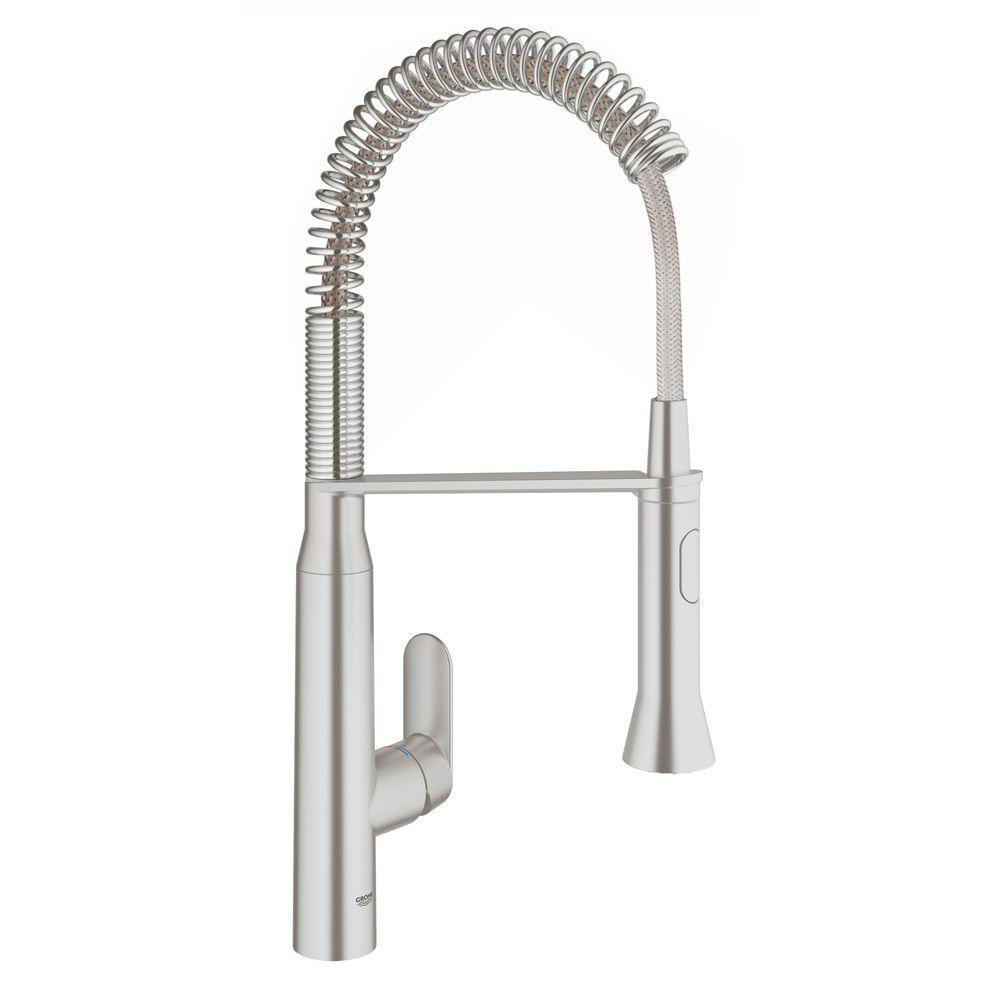 K7 Medium Semi-Pro Single-Handle Pull-Down Sprayer Standard Kitchen Faucet in SuperSteel Infinity