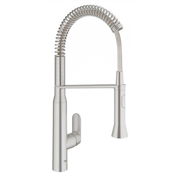 Grohe Eurocube Single Handle Pull Down Sprayer Kitchen Faucet In Starlight Chrome 31401000 The Home Depot