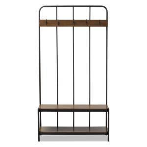 Marvelous Baxton Studio Hull Black Metal And Brown Wood Entryway Hall Dailytribune Chair Design For Home Dailytribuneorg