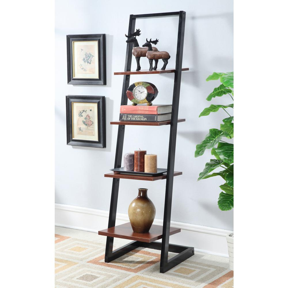 Designs2Go Black and Cherry 4-Tier Ladder Bookcase