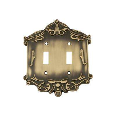 Victorian Switch Plate with Double Toggle in Antique Brass