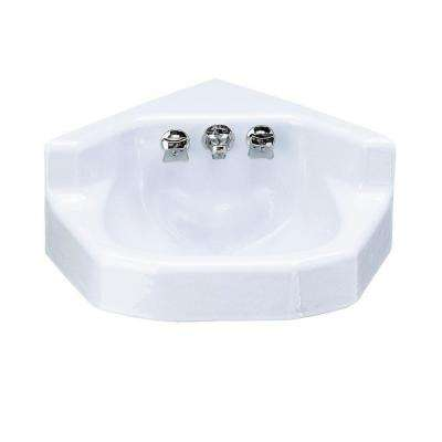 Marston Wall-Mounted Cast Iron Bathroom Sink with Factory-Installed Triton Faucet in White with Overflow Drain
