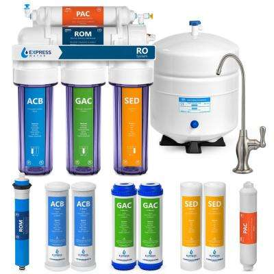 Clear Reverse Osmosis Water Filtration System 5 Stage RO Filter with Faucet and Tank 4 Free Extra Filters 50 GPD