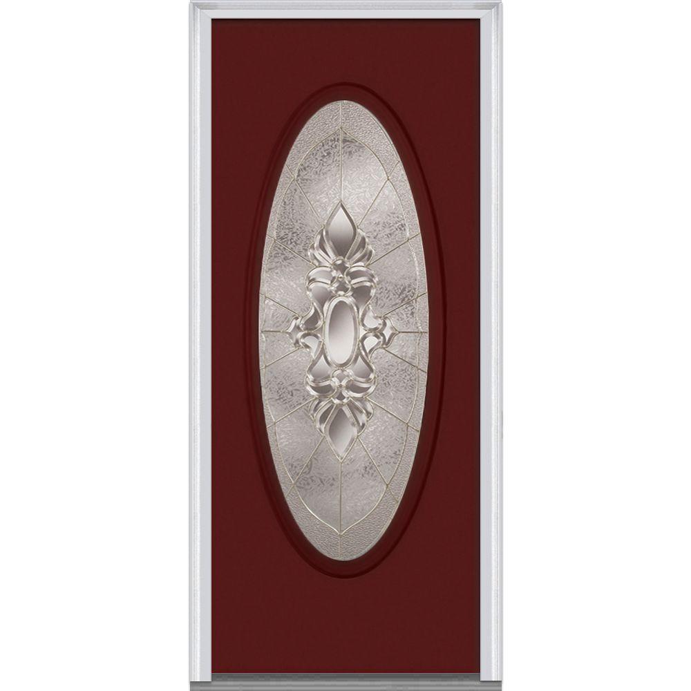 36 in. x 80 in. Heirloom Master Left-Hand Inswing Oval Lite Decorative Painted Fiberglass Smooth Prehung Front Door