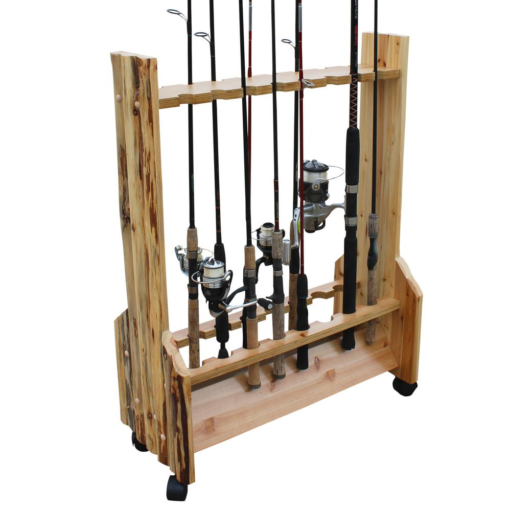 Rush Creek Creations Rustic Double Sided Rolling 16 Fishing Rod Storage Rack Easy Mobility Angled Base 37 0026 The Home Depot