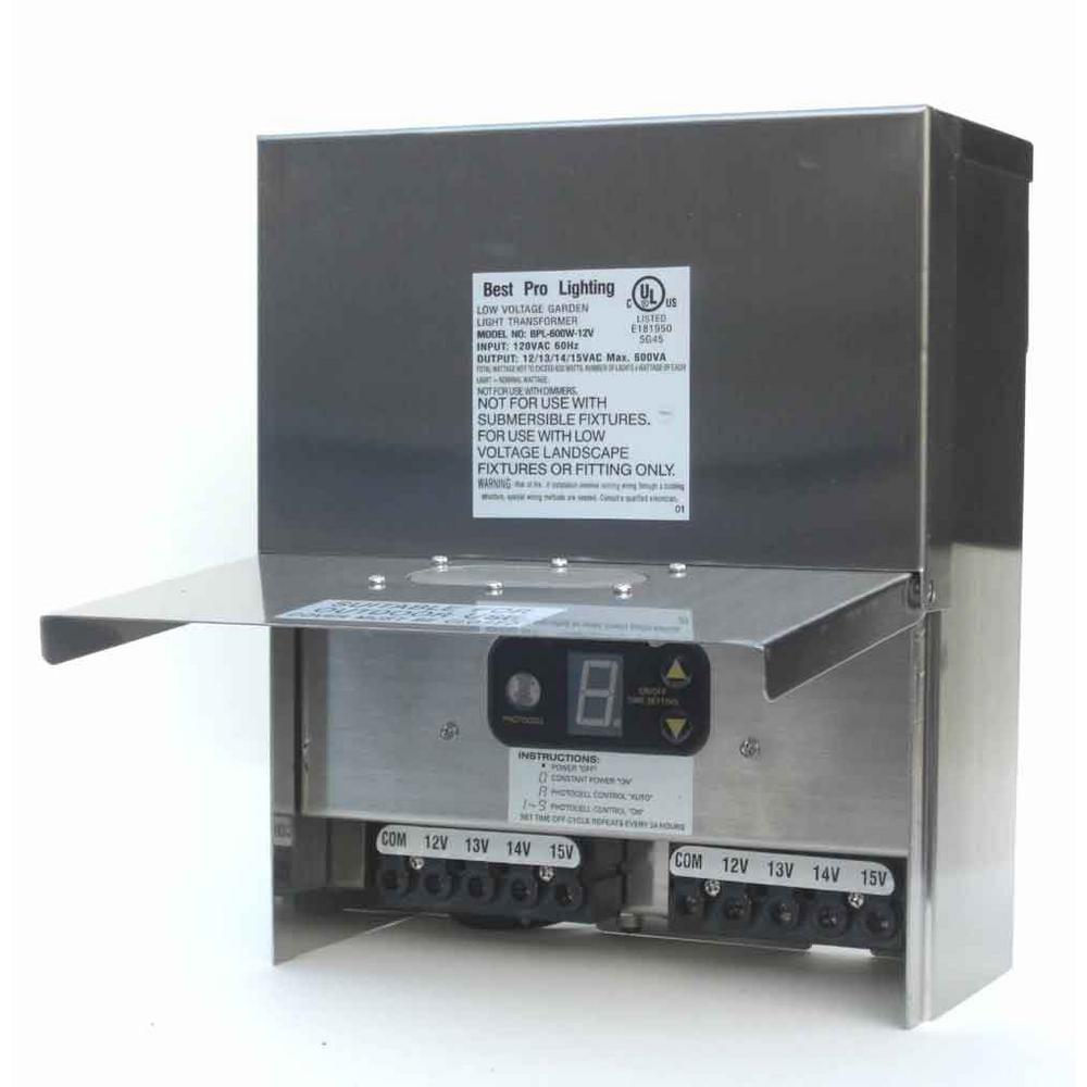 Best Pro Lighting Low Voltage Multi Tap 600 Watt 12 15 Volt Stainless Steel Landscape Transformer