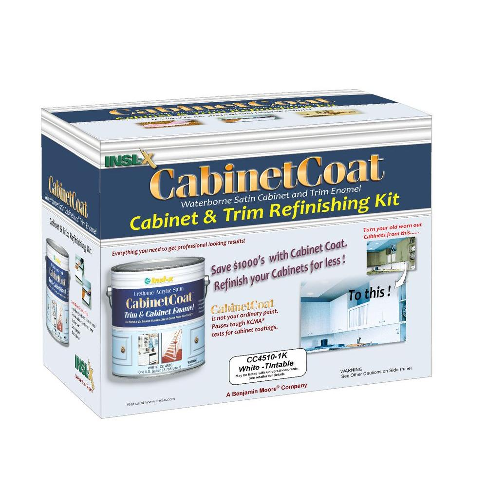 Insl-X Cabinet Coat 1 gal. Kit Includes White Trim and Cabinet Enamel with Applicators Sandpaper and Tack Cloth