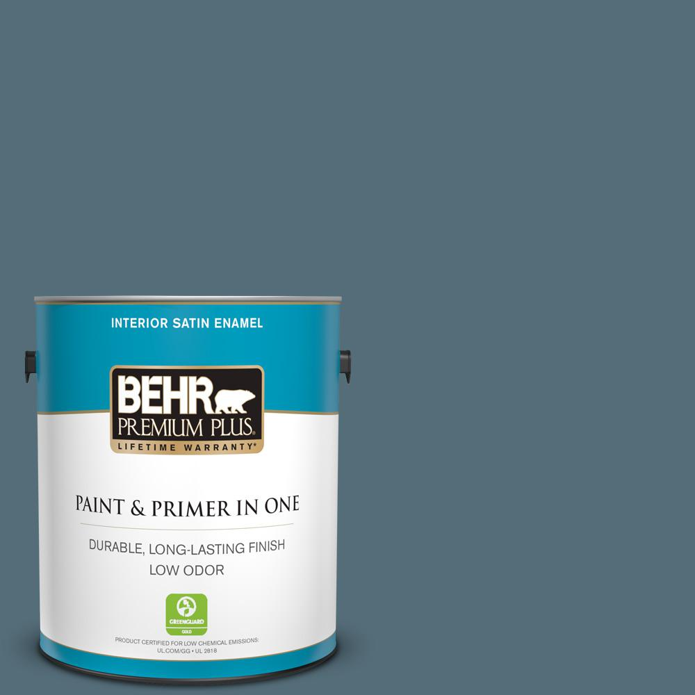1 gal. #N480-6 NYPD Satin Enamel Low Odor Interior Paint and